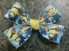 Minions hairbow toddler baby girl alligator clip blue yellow despicable me