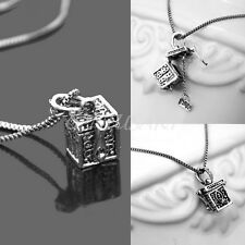 Chic Retro Women Lover Lady Charm Wish Hope Prayer Box Dangle Pendant Necklace