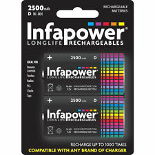 2 Pack size Infapower B006 Rechargeable D Ni-MH Batteries Cell 2500mAh Capacity