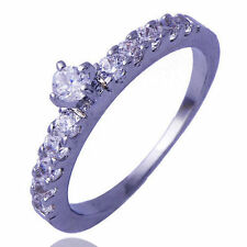 Popular jewelry Womens Engagement White Gold Filled Clear CZ Ring Size 6
