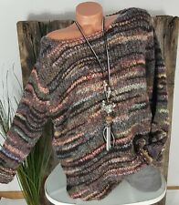 NEU KNIT WEAR OVERSIZE GROBSTRICK PULLOVER MEGA FLAUSCHIG WOLLE MULTICOL B 38-44