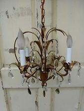 """Vintage Antique french Gold Gilt Petite Chandelier Ceiling Light 31"""" by 14"""""""