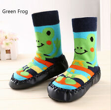 Toddler Baby Kids Cartoon Anti-slip Sock Shoes Boots Slipper GreenFrog_12