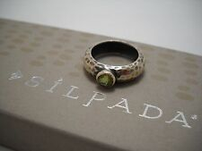 NEW Designer SILPADA Peridot & Hammered Sterling Silver Ring (R1416) Size 6