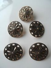 Vintage Gold & Black Tone Fancy Metal Button - Trade Mark on Back