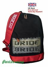 Bride Sparco backpack 2017 JDM with red racing harness and red bottom Takata