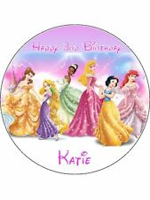"Disney Princess 7.5"" Round Personalised Edible Icing Cake Topper"