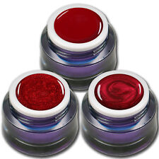 Premium Gel Set Red Stars je 5ml ein Farb - Glitter - Metallic UV-Gel Rot