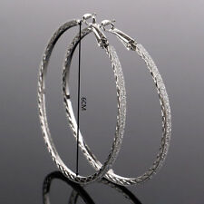 "USA New Big 6""  Round Womens Gold Silver Crystal Rhinestone Hoop Earrings 2""3/8"