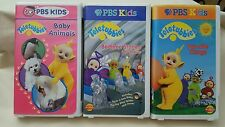3 PBS Kids TELETUBBIES  VHS Tapes  Baby Animals/Favorite Things/Bedtime Stories