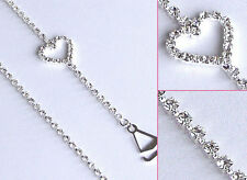 Diamante Bra Straps Clear Crystal Single Row with Heart Design 1 pair