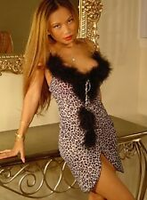 Lingerie-Sexy Stretchy Short Gown w/Marabou-Animal(S)