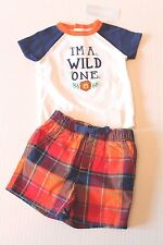 """Gymboree Sunset """"I'm A Wild One"""" Plaid Shorts Outfit Infant Baby Boy 3-6 Months"""