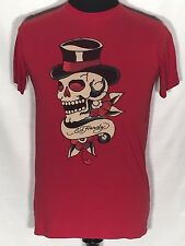 Don Ed Hardy Designs By Christian Audigier Skull Top Hat Small S Red T-shirt