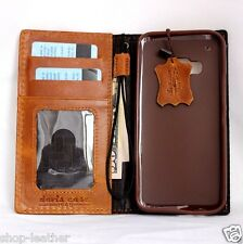 genuine vintage leather Case for Htc One m9 book wallet cover business magnet ID