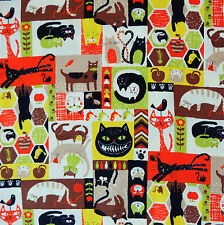 [Precut] 48x55cm Cat Cheerful Days Brown/Orange Japanese Cotton Fabric - PC570