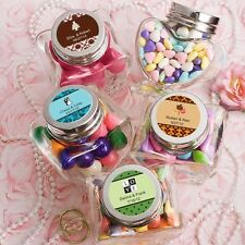 36 Personalized Heart Shaped Glass Treat Jars Wedding Shower Party Gift Favors