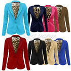 Ladies One Button Front Leopard Lining Smart Blazer/Womens Ponte Jacket