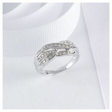 9CT White Gold Diamond Ladies Ring .25CT Crossover Engagment Wedding Ring Size L