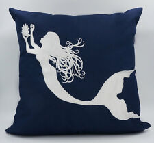 "Nautical Embroidered Pillow Cover - Mermaid - 18"" x 18"" - Navy - Beach Decor"
