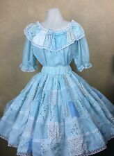 Vintage Squaredance Outfit Skirt & Blouse Blue Patchwork White Lace Trim