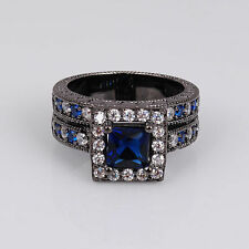 Adiz Collections Black 18K Gold Filled Blue Sapphire CZ Ring Size 7