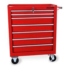 EBERTH Chariot d'atelier à outils servante caisse 7 tiroirs à roulettes rouge
