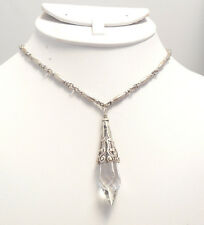 NEW SWEET ROMANCE GOTHIC PRISM CRYSTAL PENDULUM NECKLACE   CLEAR CRYSTAL