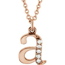 a Initial Diamond Necklace 14K Rose Gold Lower Case Initial Letter A Monogram