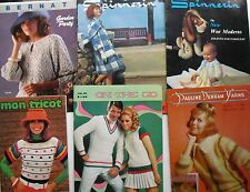 Lot of 6 Vintage KNITTING / CROCHETING PUBLICATIONS Spinnerin Bernat  Mon Tricot