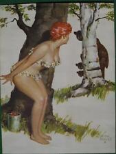 Duane Bryers Hilda Pinup 1972 Calendar Art Redhead & 3 Bears Hide Behind Trees !
