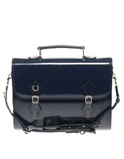 Fred Perry Laurel By Richard Nicoll L8181 Dark Marine Patent Leather Satchel Bag