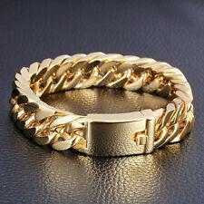 "Classic 8.5"" 14mm 18K Gold Men's Jewelry Stainless Steel Cuban Chain Bracelet"