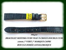 BRACELET MONTRE CUIR DE VEAU F.CROCO DOUBLÉ CUIR 12mm VERT CAPRI /*REF.PB420