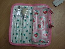 Cath Kidston oilcloth mini make up brush set pink lattice rose, NEW WITH TAGS