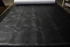 "Black Alligator Faux Leather Fabric Vinyl Auto Upholstery 54""W Pleather BTY"