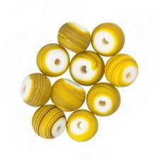 Matte Yellow Striped Round Glass Bead (8mm) - Pack of 10 (A56/3)