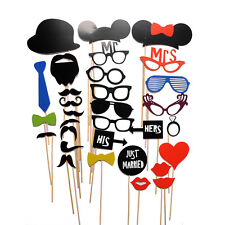 31PCS DIY Face Funny Masks Photo Booth Glasses Props Mustache On A Stick Party