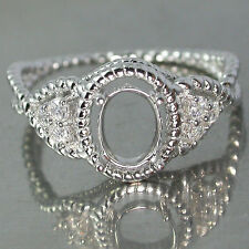 Charming~Silver925 Ring Top White CZ Semi Mount Ring 7x5mm Setting Size 7 (US)