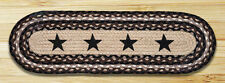 "BLACK STARS 100% Natural Braided Jute Rug, 27"" x 8.25"" Oval, Capitol Earth Rugs"