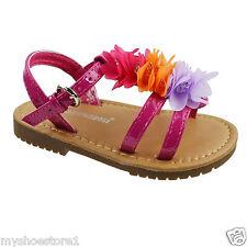 GIRLS CHILDREN FLOWER SUMMER BEACH FLAT SANDALS PARTY RUFFLE PEEP TOE SHOES SIZE