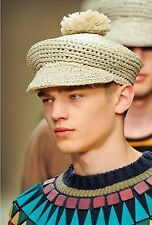 $425 RUNWAY Burberry Prorsum Raffia Bobble Straw Men M Hat Cap Style Gift ITALY