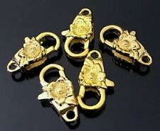 24x13mm Gold Pewter Sunflower Lobster Claw Clasps (5) ~ Lead-Free
