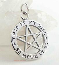 SO MOTE IT BE Pentacle Pendant Pentagram Sterling Silver Theban 2-sided Pagan