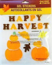 Fall Happy Harvest Autumn Pumpkins Leaves Window Gel Clings Stickers Decor