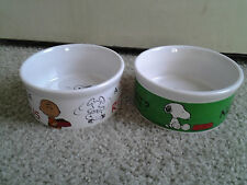 SNOOPY WOODSTOCK & CHARLIE BROWN set of 2 HEAVY CERAMIC ICE CREAM or PET BOWLS