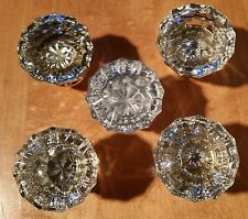 5 VINTAGE 12 POINT CLEAR GLASS DOOR KNOBS AND SOLID BRASS
