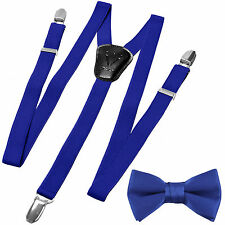 New in box Kid's Boy's Suspender adjustable strap clip on & bowtie Royal blue