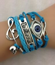NEW Infinity Believe Skull Note Eye Leather Charm Bracelet plated Silver C12