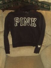 VICTORIA'S SECRET HOODED SWEAT SHIRT/HOODIE/BLACK/PATCH LETTERING/SIZE M-NICE!